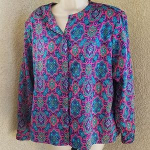 Diane Von Furstenberg sz 14 button down blouse